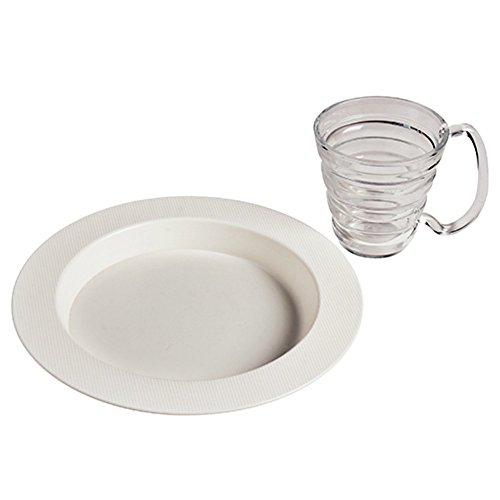 Maddak White Polycarbonate Ergo Plate and Mug Set, 9-3/4-Inch (745330011)