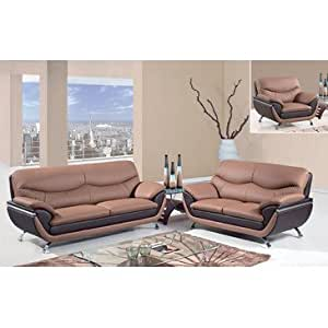 Global furniture usa 2106 3 piece leather match living room set in tan brown for Matching living room furniture sets