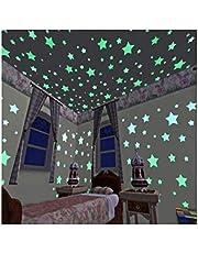 100pcs 3D Stars Glow In Dark Luminous Fluorescent Plastic Wall Sticker Home Decor Decal Wallpaper Decorative Special Festivel-s
