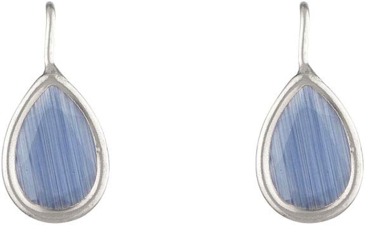 Córdoba Jewels | Pendientes en plata de ley 925 con piedra semipreciosa con diseño Lágrima Hippie Calcedonia Silver