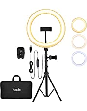 havit Ringlicht statief met 3 kleuren modus en 10 helderheid, 12 inch led-ringlamp met verstelbare telefoonhouder / Bluetooth-ontvanger/draagtas voor make-up, live streaming, selfie, videochat, vlog