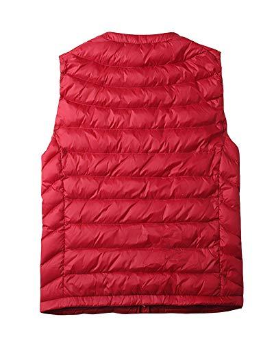 Femme Sans Gilet Manteau Manches Légère Ultra Rouge Veste Doudoune 7xqvv
