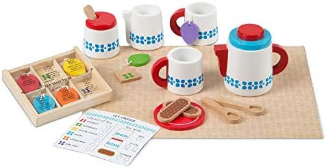 "Melissa & Doug Wooden Steep & Serve Tea Set (Pretend Play, All-Wood Tea Service, Brightly Colored Tags, 12"" H x 15"" W x 3.5"" L)"