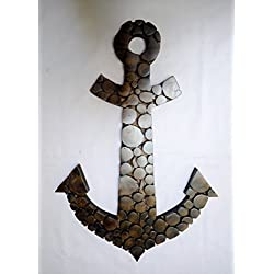 21.5 Antique Nautical Wall Mounted Handcrafted Premium Sliced Wooden Log Teak Wood Nautical Anchor | Pirate's Ship Decor | Beach Decor (Dark)