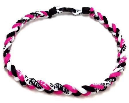 (Package of 10 Pink Black White Tornado Necklaces)