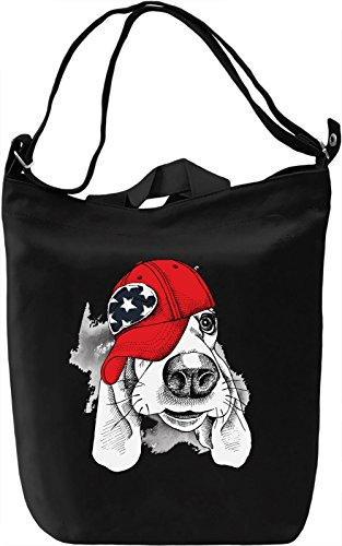 Dog With Hat Borsa Giornaliera Canvas Canvas Day Bag  100% Premium Cotton Canvas  DTG Printing 