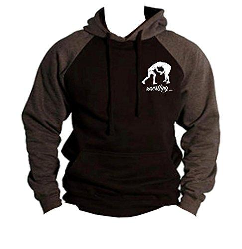 (Men's MMA Wrestling Emblem Black/Charcoal Raglan Baseball Hoodie Sweater Medium Black)