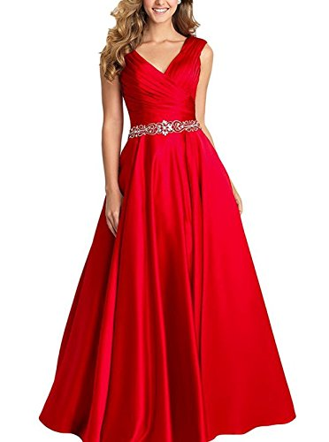 (Beading A-line Formal Evening Dress Maxi Bridesmaid Gown Sleeveless Red Size 12)