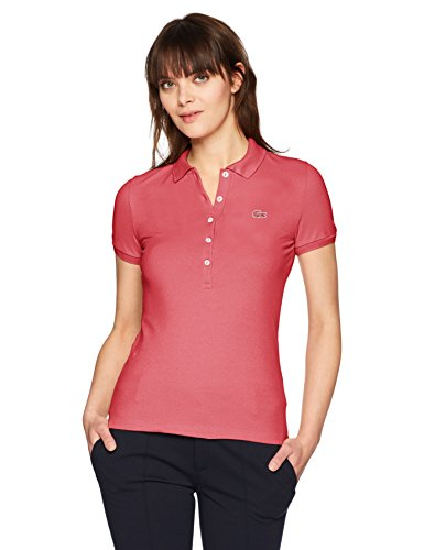 Lacoste Women's Classic Short Sleeve Slim Fit Stretch Pique Polo, PF7845, Sierra Red, 6