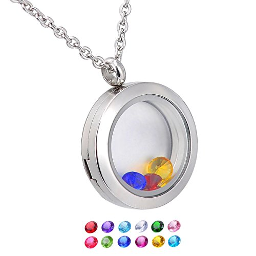 HooAMI Living Memory Floating Round Locket Pendant Necklace 316L Stainless Steel with 12 Birthstones (Necklace Pendant Locket)