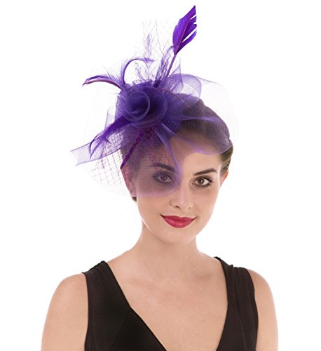 d9f6c5568e72f SAFERIN Fascinators Hat Sinamay Flower Mesh Feathers on a Headband and a Clip  Tea Party Headwear ...