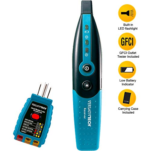 Circuit Breaker Finder with GFCI Circuit Tester & LED flashlight by VersativTECH - Smart Circuit Breaker Locator to trace the right Circuit Breaker powering an Electric Outlet quickly & accurately