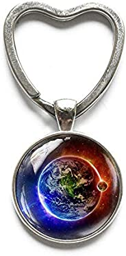 Earth Blue and Red Keychain, Fire Water Jewelry, Space Key Ring, Universe Jewelry, Galaxy Keychain, Planet Ear