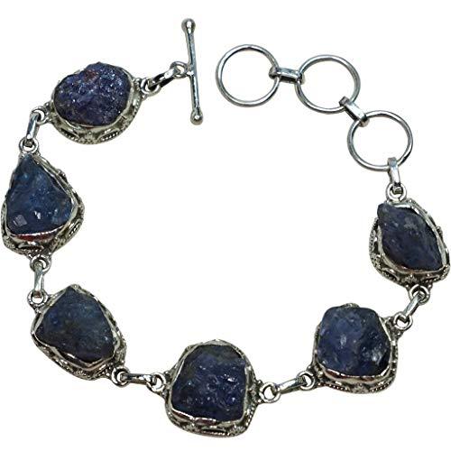 (Tanzanite Bracelet .925 Sterling Silver Bracelet Rough .Cut Bezel Set Linked Adjustable Women's Jewelry Handmade Gift)
