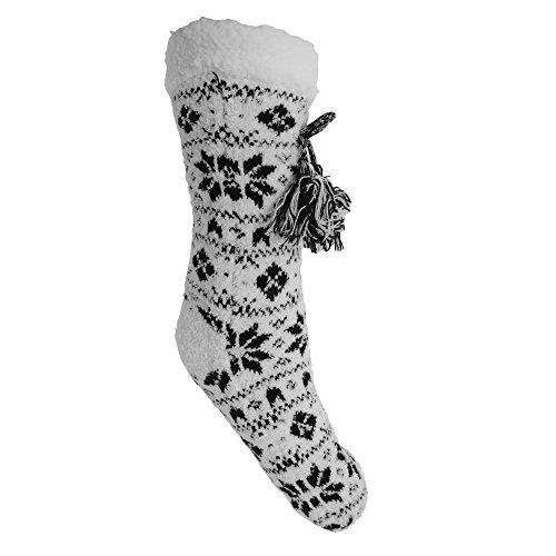 Foxbury Femmes / Dames Moelleux Grippy Gland Chaussettes Noir / Blanc