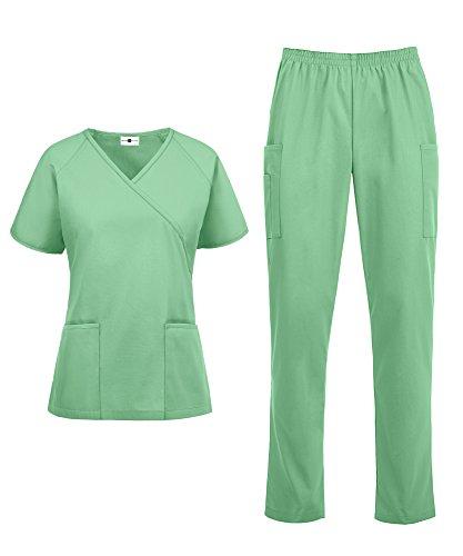 Jade Scrub Top - Women's Medical Uniform Scrub Set - Includes Mock Wrap Top and Elastic Pant (XS-3X, 14 Colors) (Small, Jade)