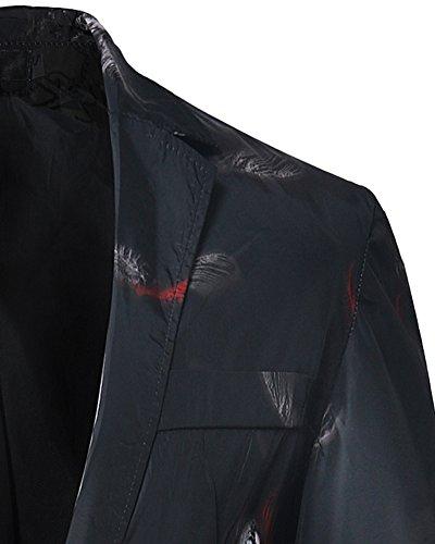 Slim Casual Elegante Moda Nero Cappotto Blazer Da Uomo Fit Giacca t4fqH