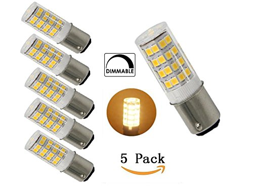 5-Pack Led BA15D Double Contact Bayonet Base AC110-130V 4W Led Light Bulb,T3/T4/C7/S6,Warm White 3000K,LED Halogen Replacement Bulb,Dimmable - 130 Volt Ba15d T4 Base