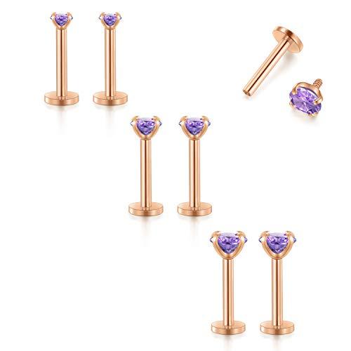 FECTAS 16G Cartilage Earring Stud Forward Helix Earrings Internal Threaded Labret Lip Medusa Monroe Piercing Ring Rose Gold 2 - Purple Labret