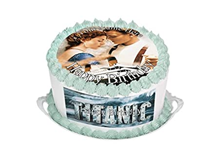PERSONALISED Titanic 105quot Inch Round Circular Edible Cake Topper Decoration
