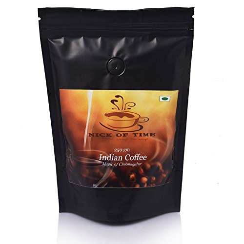 Nick of Time Indian Arabica AAA Grade Coffee From South India - Dark Roast Ground (250gm/8.8oz)