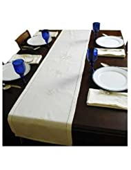 ArtisanStreet S Star Of DavidTable Runner Features Hem Stitch Cream Cloth With Embroidered Stars