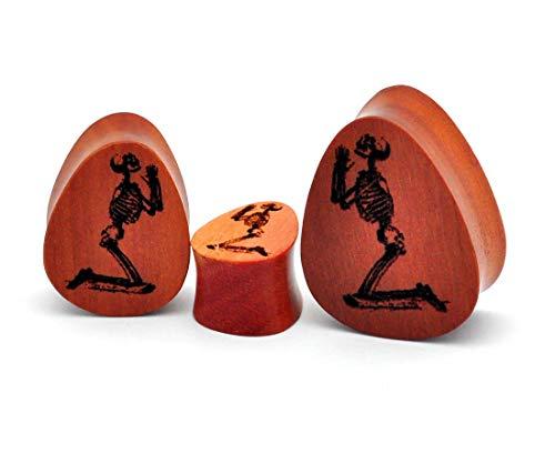 Pair of Laser Engraved Wood Dead Prayers Teardrop Plugs (PW-272)(Saba Wood) (1