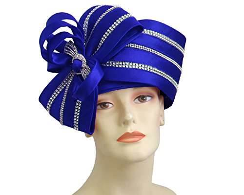 Ms Divine Women's Satin Year Round Pillbox Church Derby Dress Formal Hats #HL011 (Royal)
