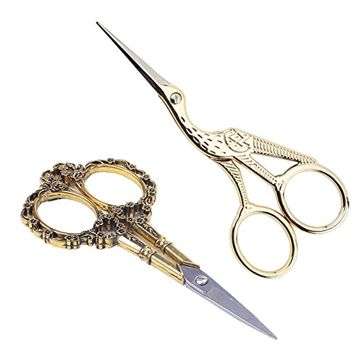(BIHRTC Gold Vintage Plum Blossom Scissors and Classic Crane Design Sewing Scissors for Embroidery, Sewing, Craft, Art Work & Everyday Use)