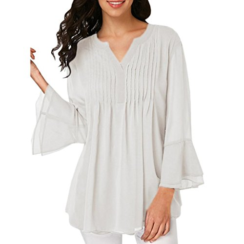 DEATU Women V Neck Summer Casual Exquisite Chiffon Flared Long Sleeve T-Shirt Tank Blouse Tops (XL, (French Flared Jeans)