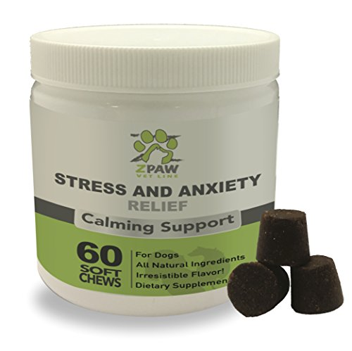 Stress And Anxiety Relief Calming Support For Dogs By Zpaw Vet Line   Natural Ingredients Canine Anti Anxiety Aid Treatment Treats For Nervousness Hyperactivity Discontentment And Stress 60 Soft Chews