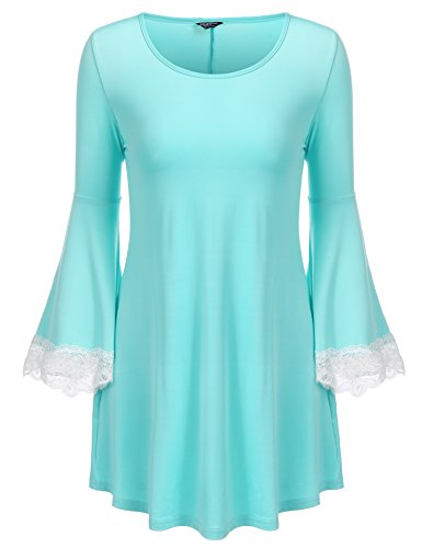 Zeagoo Women's Loose Batwing Top 3/4 Sleeves Lace Rayon Blouse T Shirt Tops(Light Blue-XL)