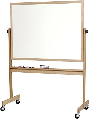 Deluxe Reversible Porcelain Markerboard with Light Oak Wood Frame (668WG-DD) 48 x 72 Inches by Best-Rite