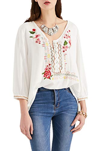 AK Women's Summer Boho Embroidery Mexican Bohemian Tops Shirt Tunic Blouses White