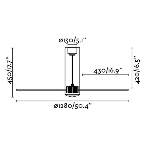 Tube Fan /ø128 cms Blanco Mate 3 Palas Faro 32034