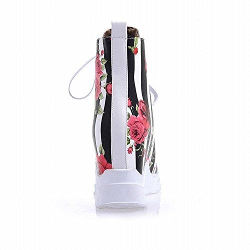 Carolbar Womens Fashion Blommönster Vertikal Rand Snörning Kil Dold Häl Korta Stövlar Vita