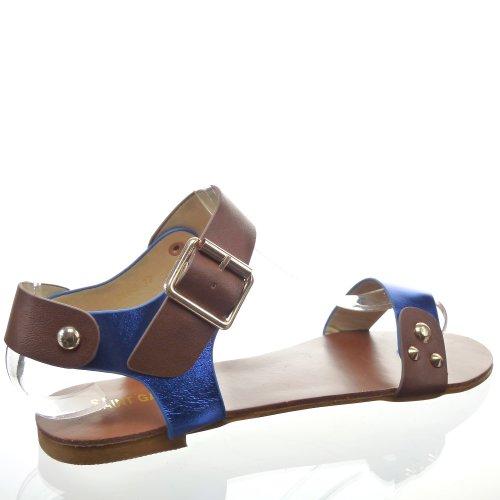 Kickly-Scarpe sportive donna Sandale Claquettes caviglia chiodata tallone CM-1-interno %2FOr sintetico, colore: blu