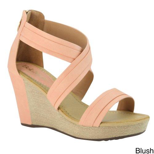 BellaMarie NXT-14 Women CrissCross Ankle Strappy Back Zip Wedge Platform Sandal, Color:BLUSH, Size:10