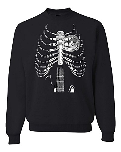 Amped Up Guitar Microphone Skeleton Rock Band Crew Neck Sweatshirt, Black, M (Band Crewneck Sweatshirt)