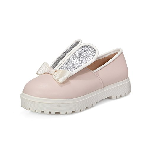 Amoonyfashion Mujeres Low-heels Soft Material Solid Pull-on Round Closed Toe Bombas-zapatos Rosa
