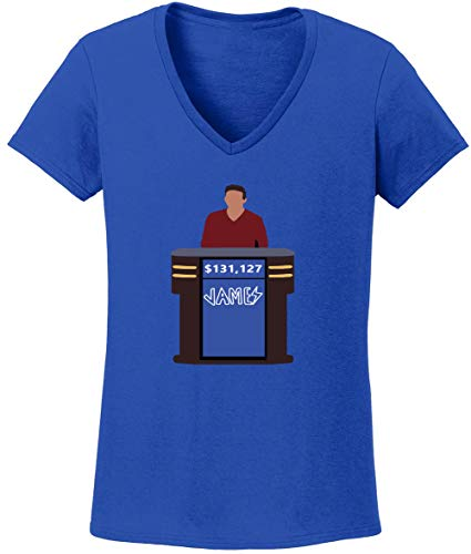 (Shedd Shirts Blue James Holzhauer Jeopardy Funny Ladies V-Neck T-Shirt Adult)