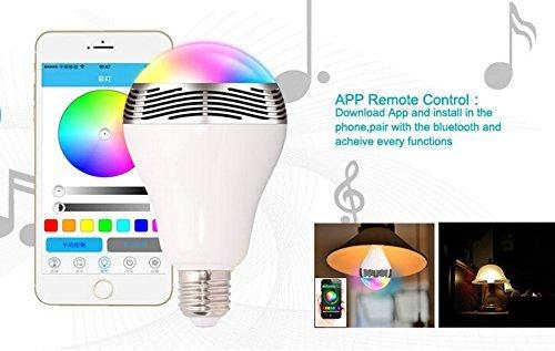 Altavoz Bluetooth Bombilla LED POWERKKM - Luces LED Color multicolor brightlightz - Bombillas LED RGB inteligente con altavoz para fiestas, hogar, oficina, ...