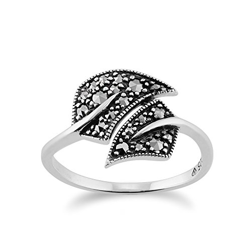 - Gemondo Art Nouveau Ring, 925 Sterling Silver 0.27ct Marcasite Art Nouveau Style Leaf Ring