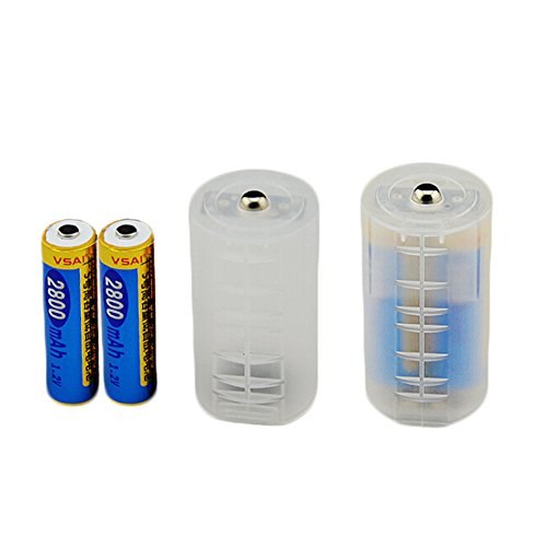 Beautymei 10 PCS Transparent AAA to AA, AA to C, AA to D Battery Case Adapter Converter Adaptor (AA to D)