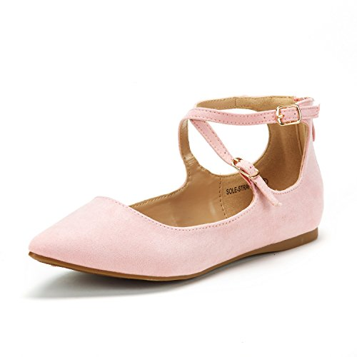 DREAM PAIRS Women's Sole-Strappy Lt Pink Ankle Straps Flats Shoes - 6.5 M US - Pink Ankle Strap Shoes