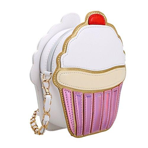 Queenfashion Cute Cartoon Women Ice Cream/ Cupcake Shape Mini Shoulder Bag Metal Chain Red