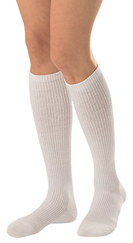 JOBST Activewear 15-20 mmHg Knee High Compression Socks, Large, Cool White