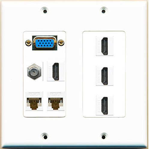 -2 Gang) 4 HDMI 1 Coax 2 Cat6 White Wall Plate Dual Gang White (Dual Gang White Decorator)