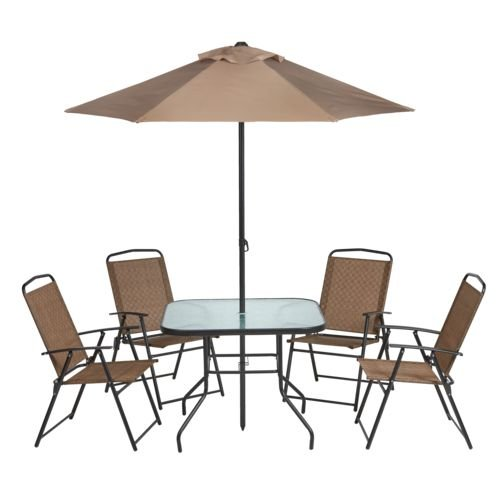 Outdoor 6-Piece Folding Patio Dining Furniture Set with Umbrella, Seats 4 by Mosaic
