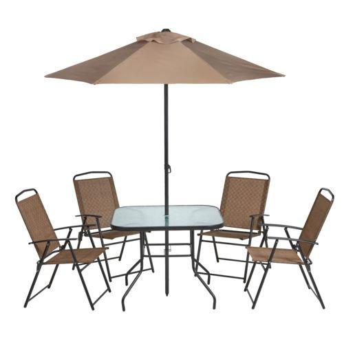 Outdoor 6-Piece Folding Patio Dining Furniture Set with Umbrella, Seats 4 (Umbrella Sets With Cheap Patio)